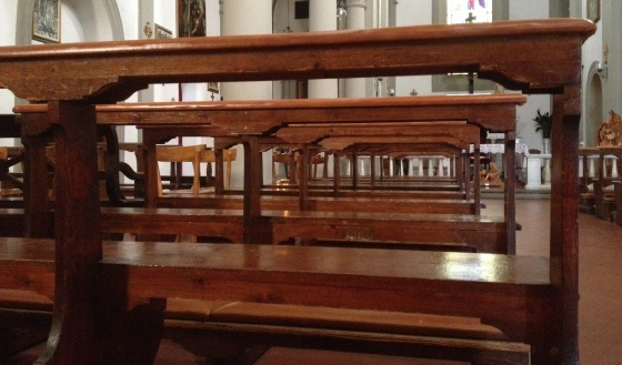 Church pews in Tuscany