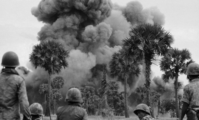 In 1969 Cambodia allows North Vietnamese guerrillas to set up bases on their territory to fight against the US backed South Vietnamese government. The US begin a secret bombing campaign against these bases.